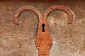 Detalle de pecho con chapa de hierro oxidado