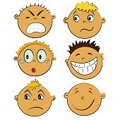 children faces icon set. people emotions collection