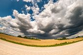 Hdr Panorama On Gravel Road Among Fields In Evening With Awesome Black Clouds Before Storm poster