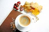 Cup Of Coffee In Tne Autumn Day