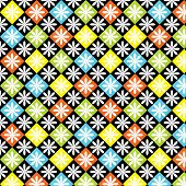 Diamond, Squares, Floral Background
