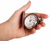Silver Pocket Watch In Hand