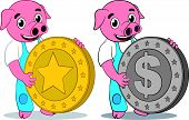 Happy cute pig gold and dollar coin