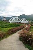 Image Of The Tha Chomphu Railway Bridge Or White Bridge , Railway Bridge In Mae Tha District, Lamphu poster