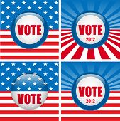 Vote Buttons. Set Of Four With Background