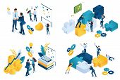 Set Isometric Concept Of Business Partnership. Modern Illustration Concepts For Website And Mobile W poster