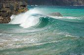 Waves Crash On The Na Pali Coast Kauai