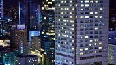 Modern Office Building At Night. Night Lights, City Office Building Downtown, Cityscape View poster