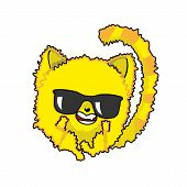 Sunny Yellow Cat. Cat In Black Glasses.  Cat - The Sun. Round Cat poster