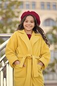 French Trend Fall Season. Girl Walk Defocused Background. Charming Little French Style Fashionable G poster