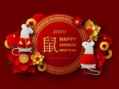 Happy Chinese New Year 2020. Papercut Clothed Rat Character, Flowers, Envelope And Lucky Coins. Red  poster