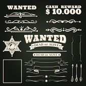 Wanted Ornaments. Country Vintage Western Saloon Tattoos Pattern And Cowboy Frame Scroll Elements On poster