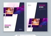 Purple Brochure Cover Template Layout Design. Corporate Business Annual Report, Catalog, Magazine, F poster