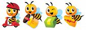Cartoon Cute Bee Mascot Set. Cartoon Cute Bee Deliver Product Set. Cute Bee Ride Scooter, Cute Bee C poster
