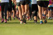 Marathon Running Race, People Run Feet On The Lawn poster