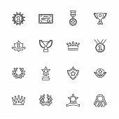 Awards, Trophy Outline Icons Set - Black Symbol On White Background. Money And Finance Simple Illust poster