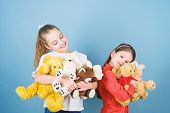 Charity Sale. Love And Friendship. Kids Adorable Cute Girls Play Soft Toys. Happy Childhood. Child C poster