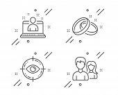 Best Manager, Wedding Rings And Eye Target Line Icons Set. Teamwork Sign. Best Developer, Love, Opto poster