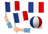 France Flag In Hand Set. Ball Flag. National Flag Of France Illustration poster