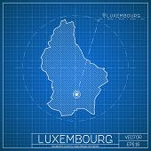 Luxembourg Blueprint Map Template With Capital City. Vector Illustration. poster