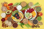 Vegan health food for a healthy life concept with a large super food collection. Healthy foods high  poster
