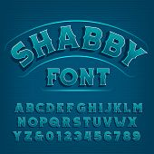 Shabby Alphabet Font. Vintage Letters And Numbers. Vector Typescript For Your Typography Design. poster