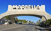 MARBELLA, SPAIN - MARCH 13: Marbella entrance sign on March 13, 2012 in Marbella, Spain. This iconic