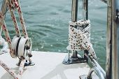 Rope On A Yacht. Yacht Rope Cleat And Sunlight. Sailboat Winch And Rope Yacht Detail. Yachting poster