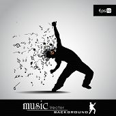 Vector illustration of abstract young boy silhouette in profile and musical notes with burst effect