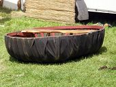 stock photo of coracle  - Traditional Welsh boat dating back to Roman times - JPG