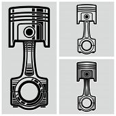 Car engine piston. Vector illustration.