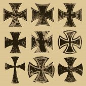 foto of maltese-cross  - Distressed crosses set - JPG