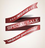 Vector Old red  retro ribbon - limited offer, special sale
