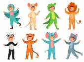 Cartoon Baby Animal Costumes. Cute Girl In Panda Costume, Little Boy In Elephant Suit And Kids Party poster