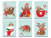 Merry Christmas Lazy Sloth. Happy New Year Cute Lazybones, Xmas Laziness And Winter Holidays Greetin poster