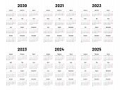 Calendar Grid. 2020 2021 And 2022 Yearly Calendars. 2023, 2024 Years Organizer And 2025 Year Weekday poster