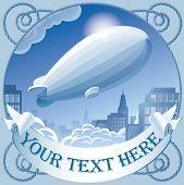 Imagem vetorial de rótulo retrô com um zeppelin no céu voando sobre a cidade