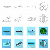 Vector Illustration Of War And Ship Logo. Set Of War And Fleet Stock Vector Illustration. poster