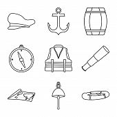 Vector Illustration Of Ocean And Travel Logo. Set Of Ocean And Voyage Stock Vector Illustration. poster