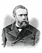 Ludwig Nobe - industrialist and inventor. Engraving by  Shyubler. Published in magazine
