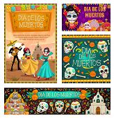 Dia De Los Muertos, Mexican Traditional Holiday, Day Of Dead Celebration. Vector Dancing Gone People poster
