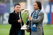 CARSON, CA - DECEMBER 1: Ex players of the Los Angeles Galaxy Mauricio Cienfuegos & Cobi Jones bring out the MLS Cup before the 2012 MLS Cup at the Home Depot Center on December 1, 2012 in Carson, Ca.