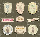 vintage travel labels on old paper