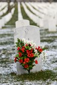 Tombstones in winter, Arlington National Cemetery - Washington DC United States