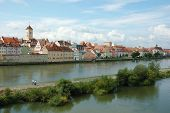 Panorama Of Old Beautiful Town Regensburg ,bavaria,germany,unesco Heritage