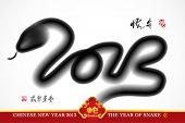 Vector Snake Ink Painting, Chinese New Year 2013, Translation: Snake Year 2013