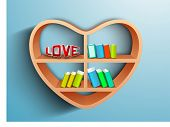 Wooden heart shape bookshelf having books and text LOVE on blue, Saint Valentines Day love backgroun