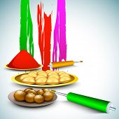 Indian colorful festival Holi celebration background with colors splash, sweets, colors gun (pichkar