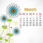 Floral decorated, March month calender 2013. EPS 10.