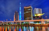 TOKYO - JANUARY 6: Landmark buildings including Tokyo Sky Tree  along the Sumida RIver January 6, 20